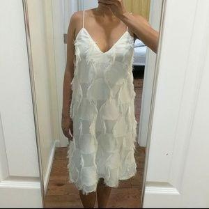 Zara Midi White V Neck Dress-- New!